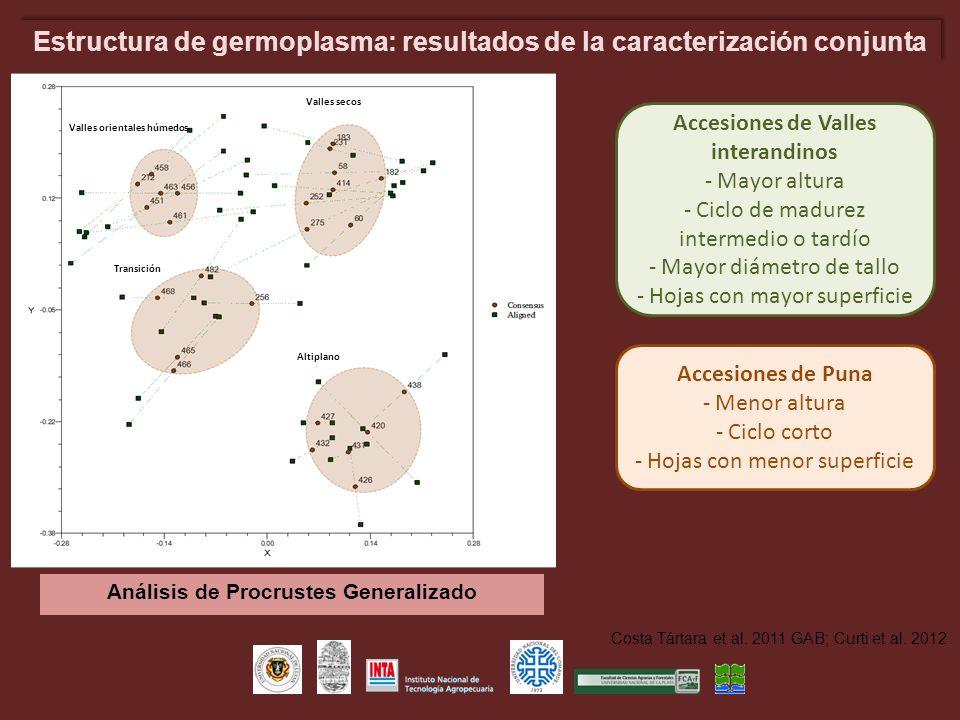 Estructura de germoplasma: resultados de la caracterización conjunta