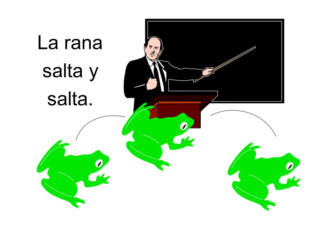 La rana salta y salta.