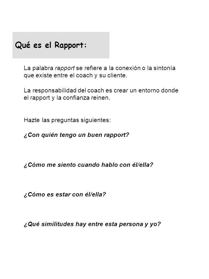 Qué es el Rapport: La palabra rapport se refiere a la conexión o la sintonía que existe entre el coach y su cliente.