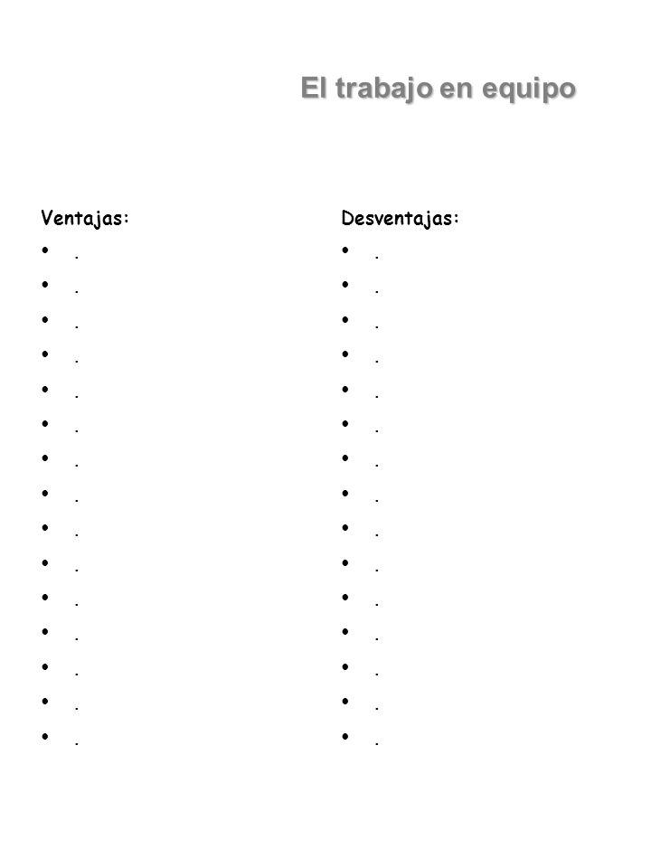 El trabajo en equipo Ventajas: . Desventajas: .