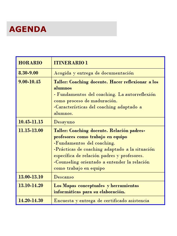 AGENDA HORARIO ITINERARIO 1 8.30-9.00