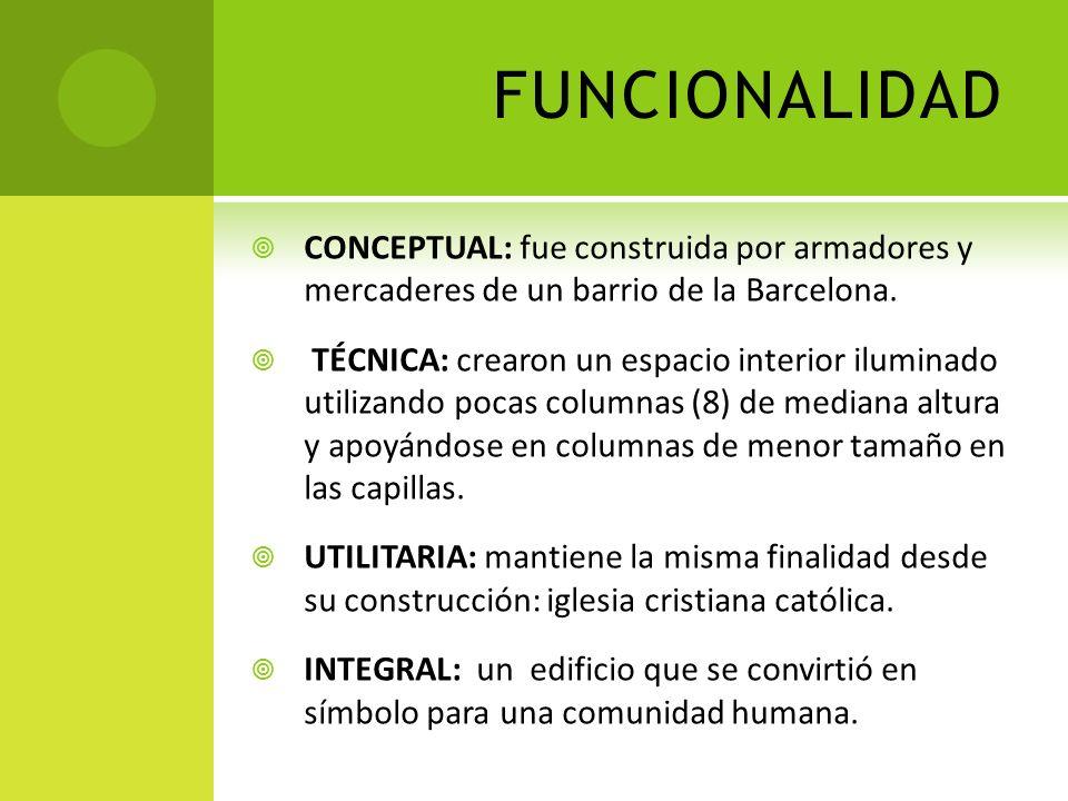 FUNCIONALIDADCONCEPTUAL: fue construida por armadores y mercaderes de un barrio de la Barcelona.