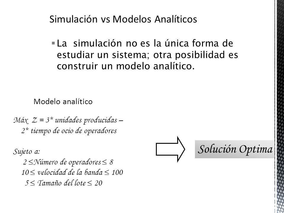 Solución Optima Simulación vs Modelos Analíticos