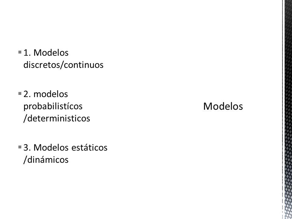 Modelos 1. Modelos discretos/continuos