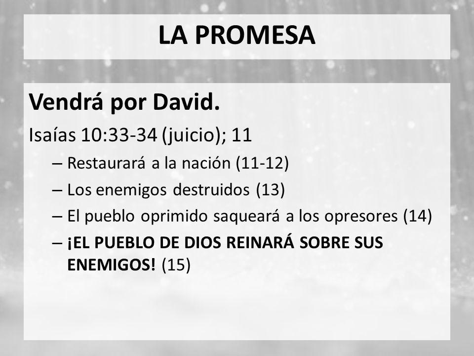 LA PROMESA Vendrá por David. Isaías 10:33-34 (juicio); 11
