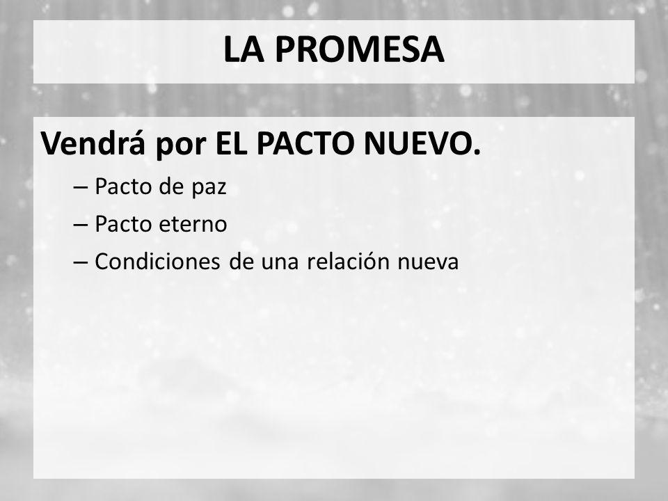 LA PROMESA Vendrá por EL PACTO NUEVO. Pacto de paz Pacto eterno