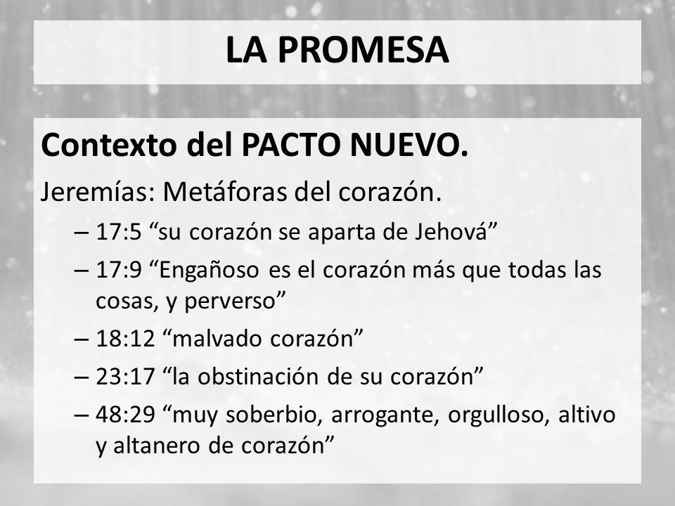 LA PROMESA Contexto del PACTO NUEVO. Jeremías: Metáforas del corazón.