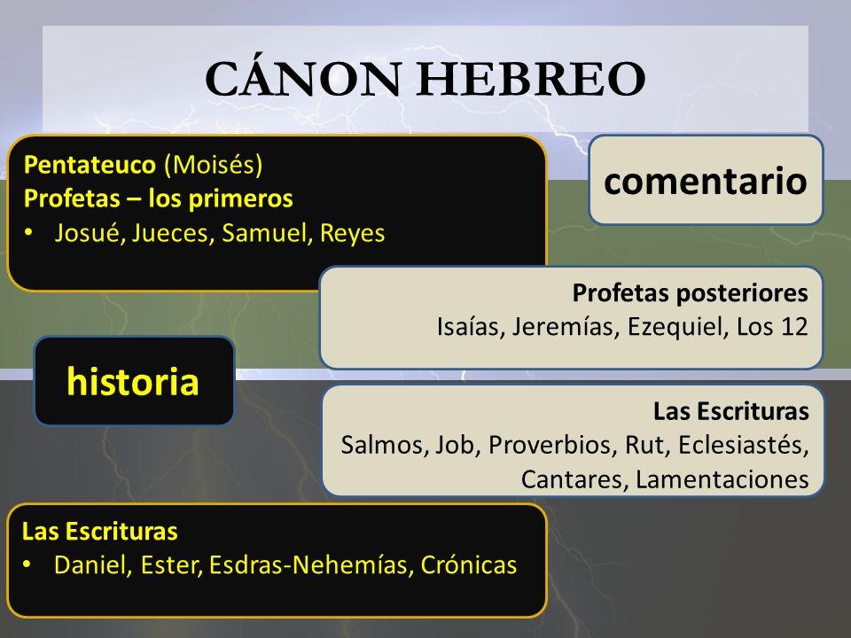 CÁNON HEBREO comentario historia Pentateuco (Moisés)