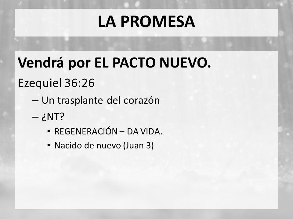 LA PROMESA Vendrá por EL PACTO NUEVO. Ezequiel 36:26