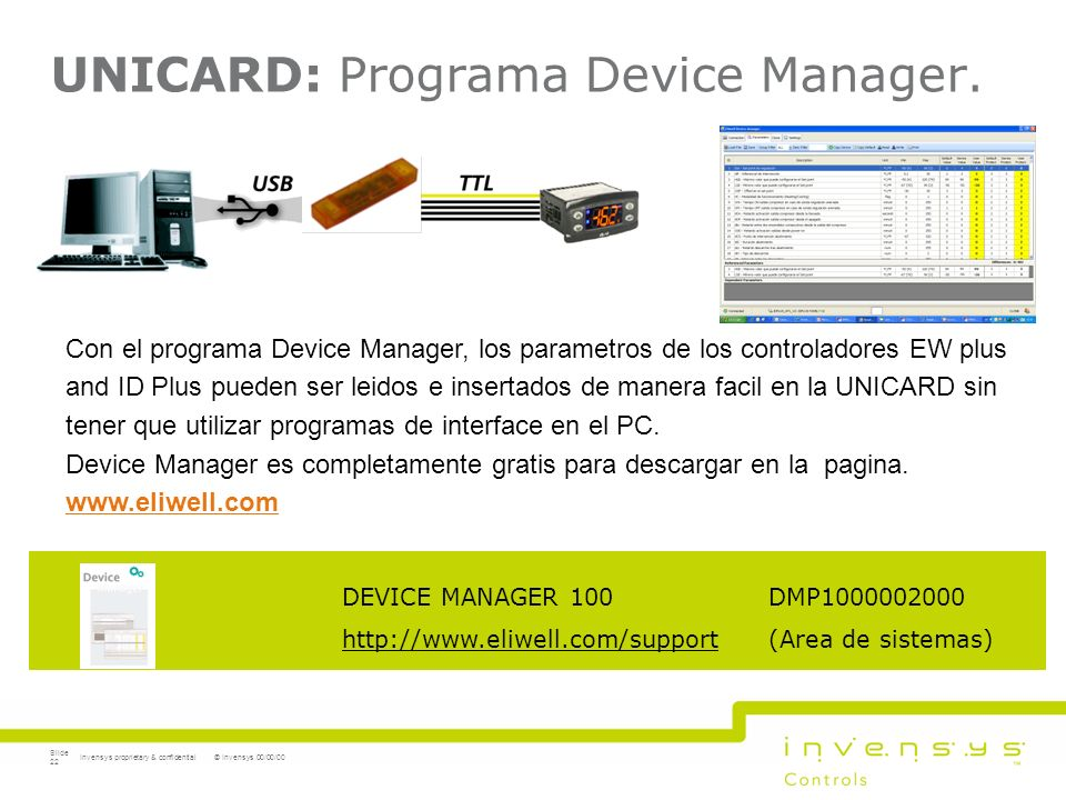 UNICARD: Programa Device Manager.