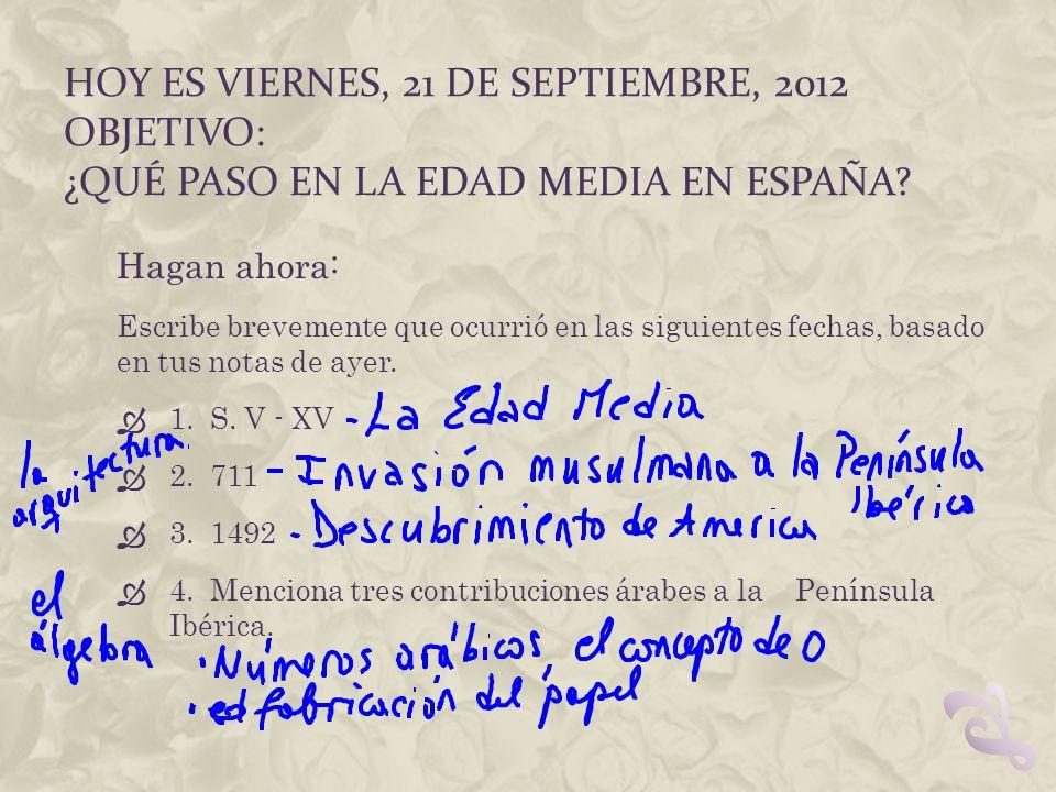 Hoy es viernes, 21 de septiembre, 2012 Objetivo: ¿Qué paso en la Edad Media en España