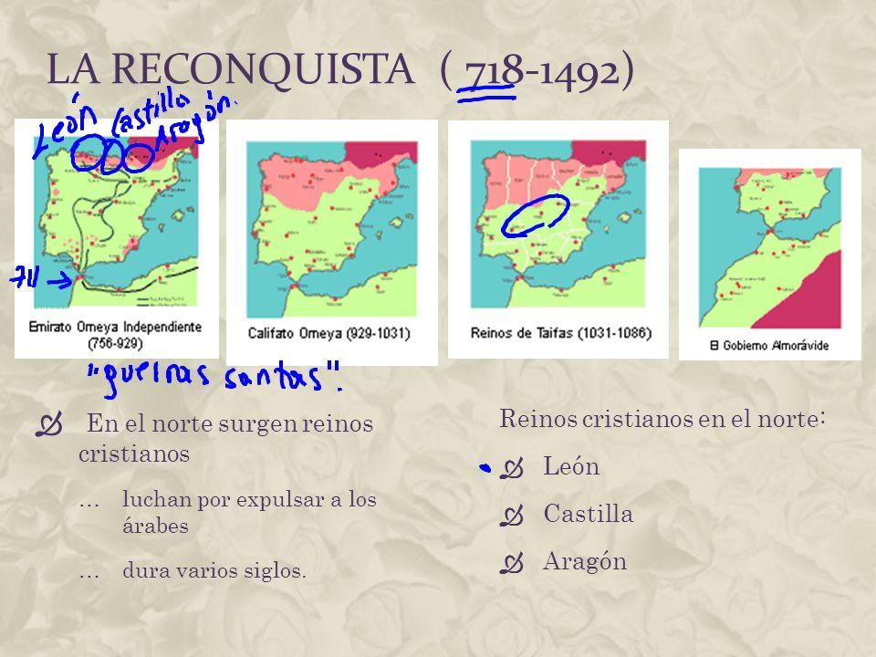 La reconquista ( 718-1492) En el norte surgen reinos cristianos