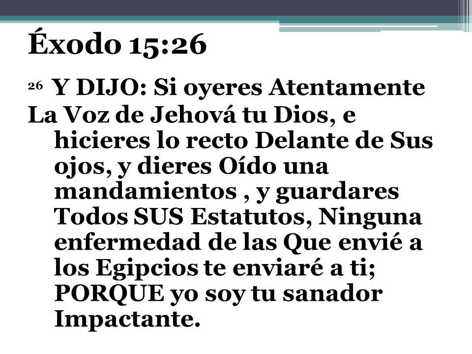 Éxodo 15:26 26 Y DIJO: Si oyeres Atentamente.
