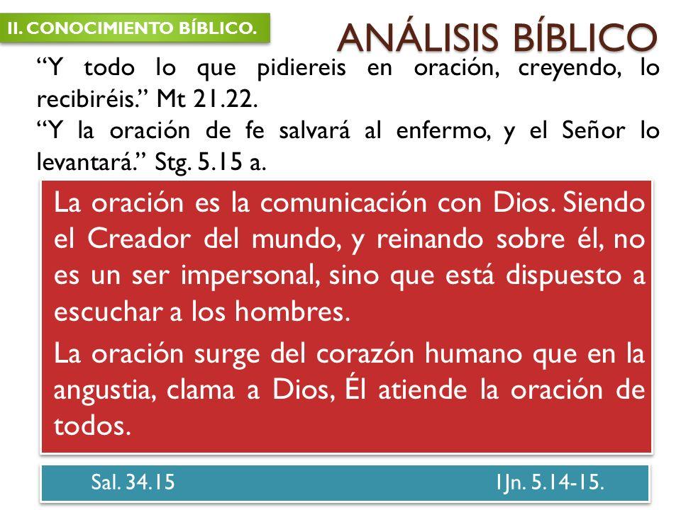 ANÁLISIS BÍBLICO II. CONOCIMIENTO BÍBLICO. Y todo lo que pidiereis en oración, creyendo, lo recibiréis. Mt 21.22.