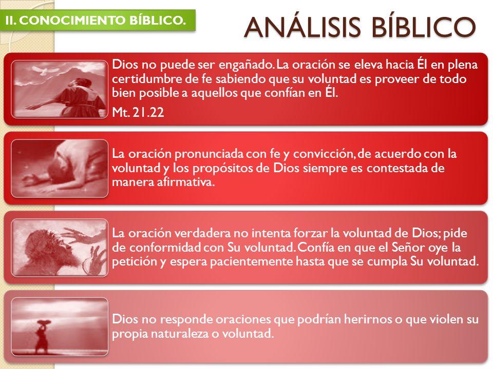 ANÁLISIS BÍBLICO II. CONOCIMIENTO BÍBLICO.