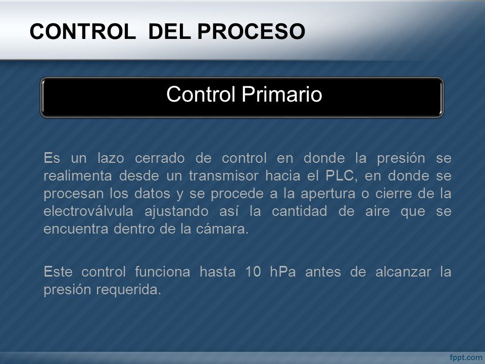 CONTROL DEL PROCESO Control Primario