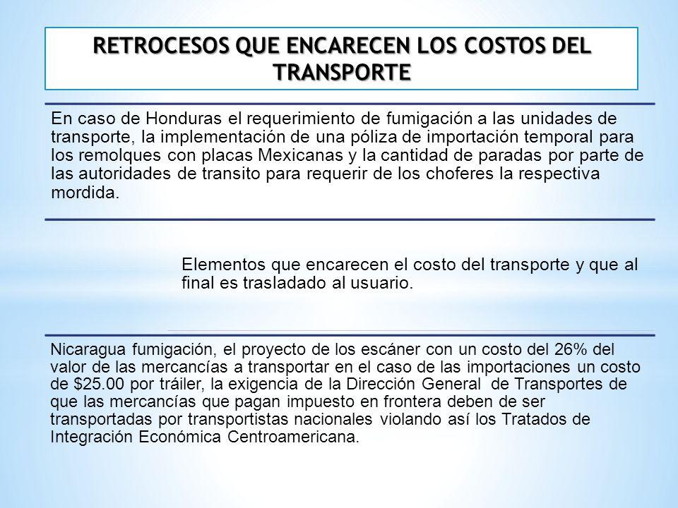 RETROCESOS QUE ENCARECEN LOS COSTOS DEL TRANSPORTE