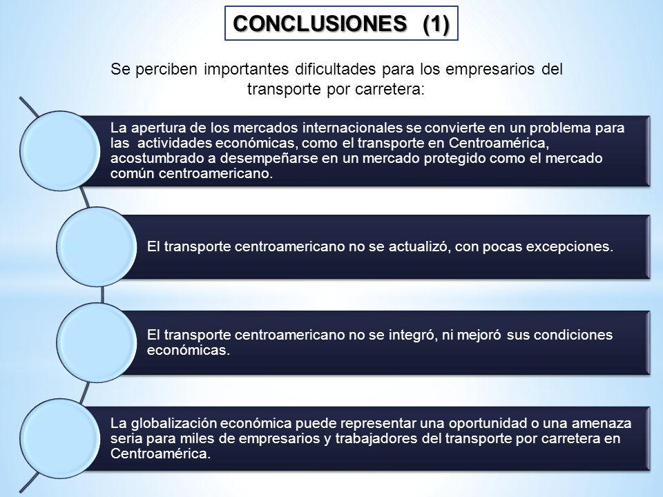 CONCLUSIONES (1) Se perciben importantes dificultades para los empresarios del transporte por carretera: