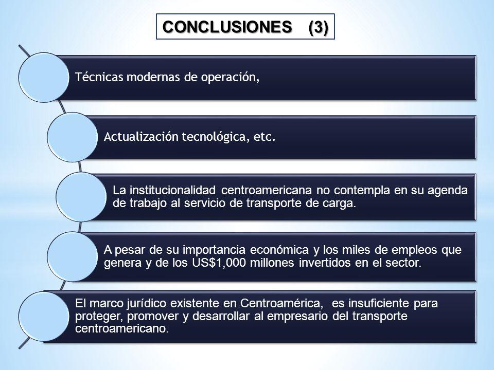 CONCLUSIONES (3) Técnicas modernas de operación,