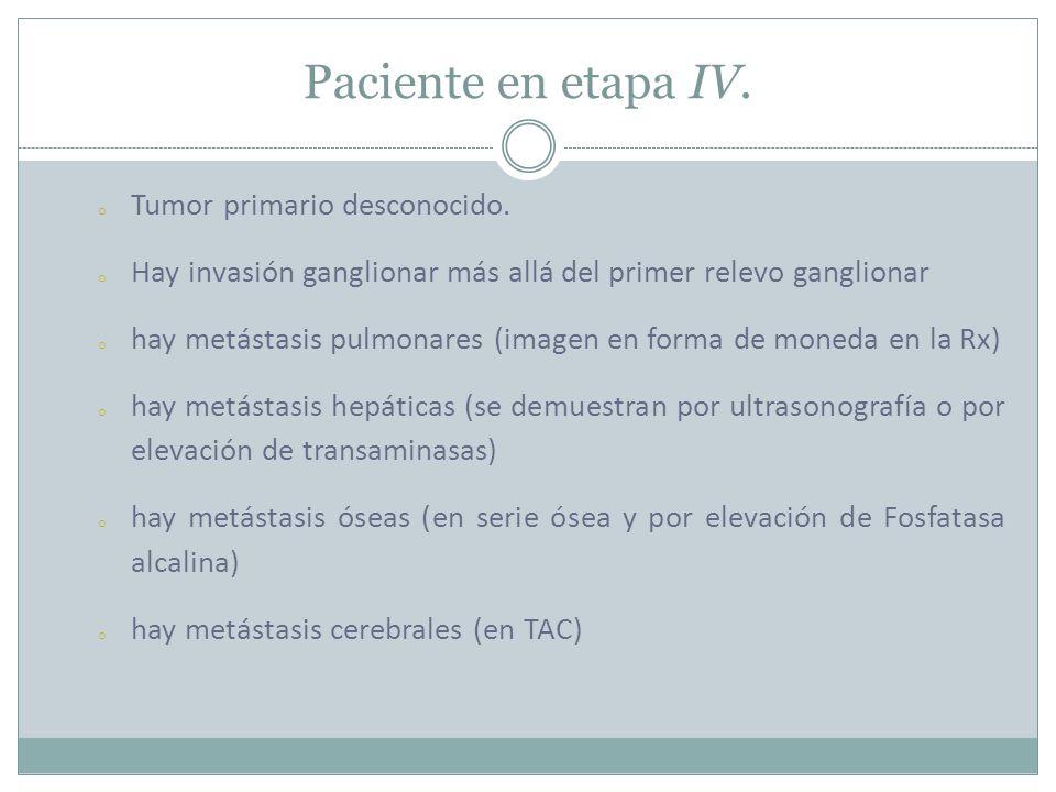 Paciente en etapa IV. Tumor primario desconocido.