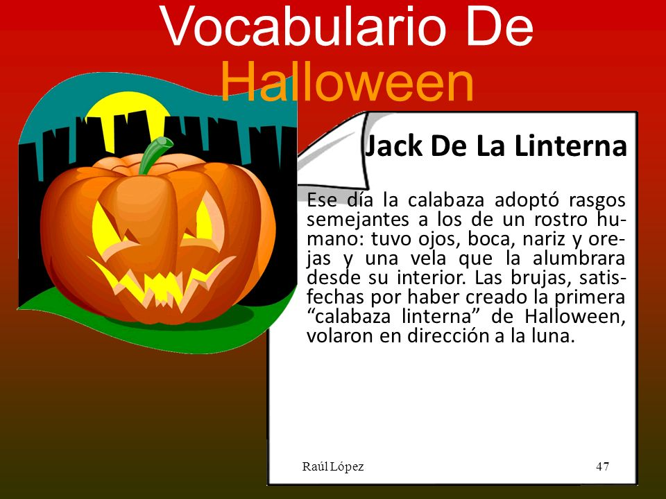 Vocabulario De Halloween