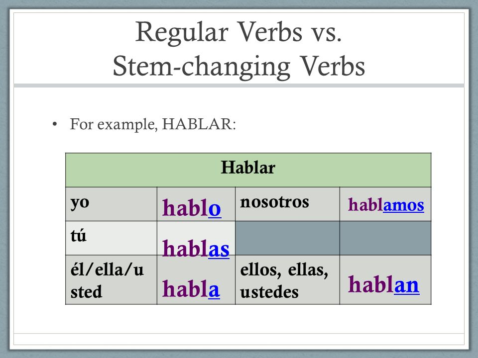 Regular Verbs vs. Stem-changing Verbs