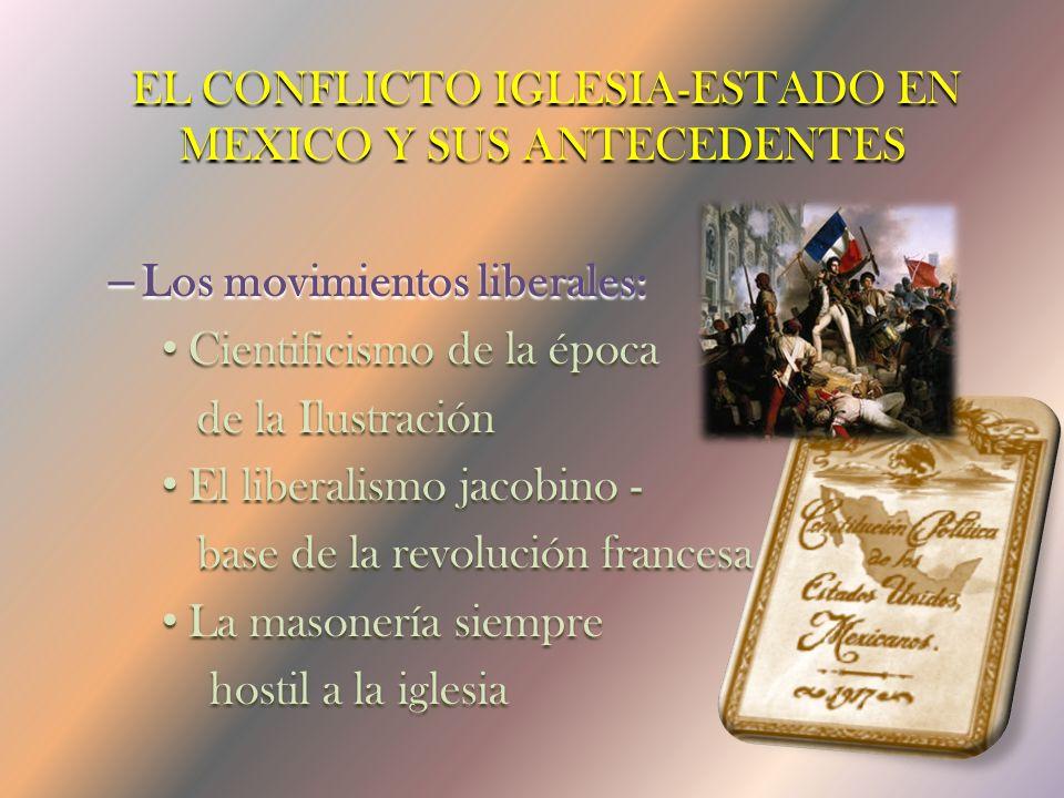 El conflicto iglesia-Estado en Mexico y sus Antecedentes