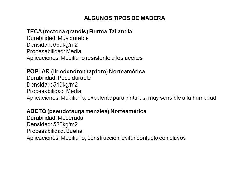 ALGUNOS TIPOS DE MADERA