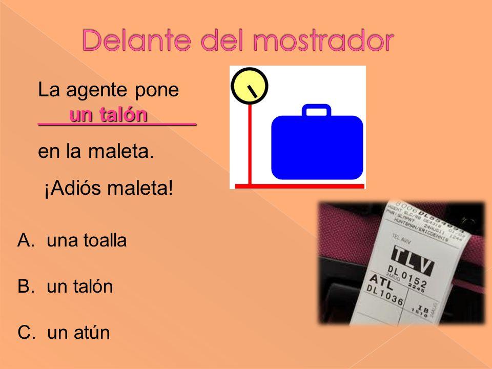Delante del mostrador La agente pone ______________ en la maleta.