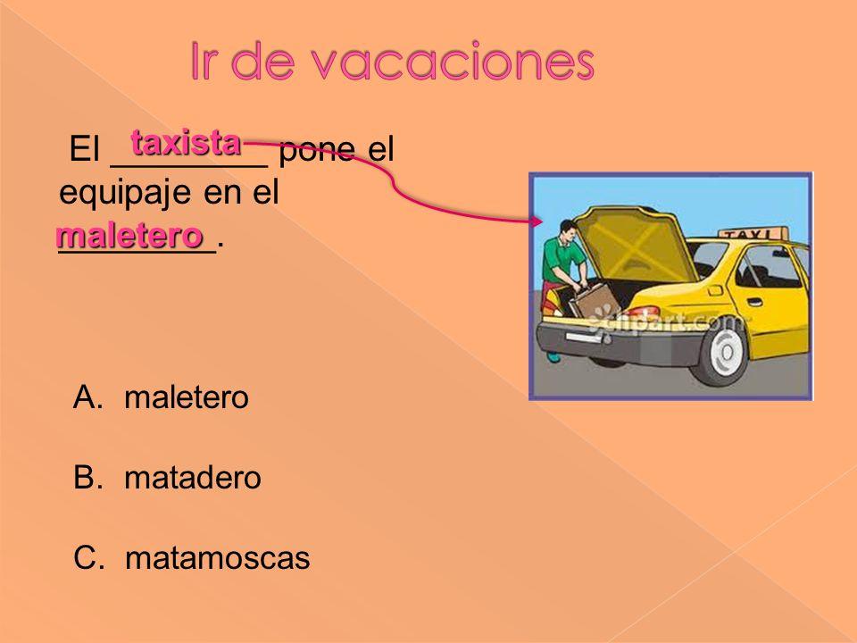 Ir de vacaciones taxista El ________ pone el equipaje en el ________.