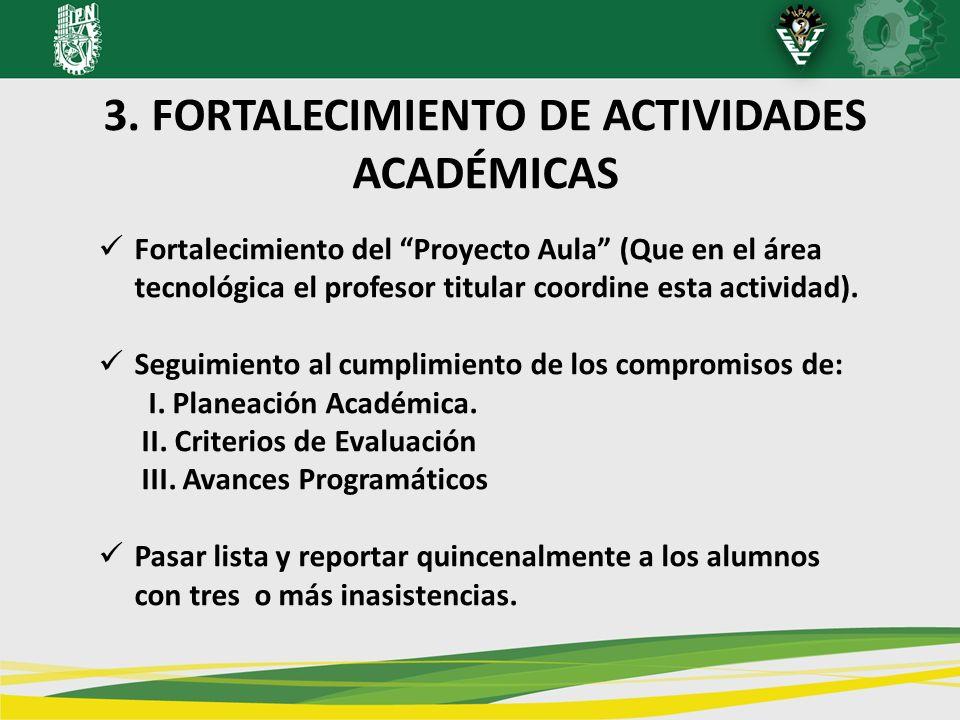 3. FORTALECIMIENTO DE ACTIVIDADES ACADÉMICAS