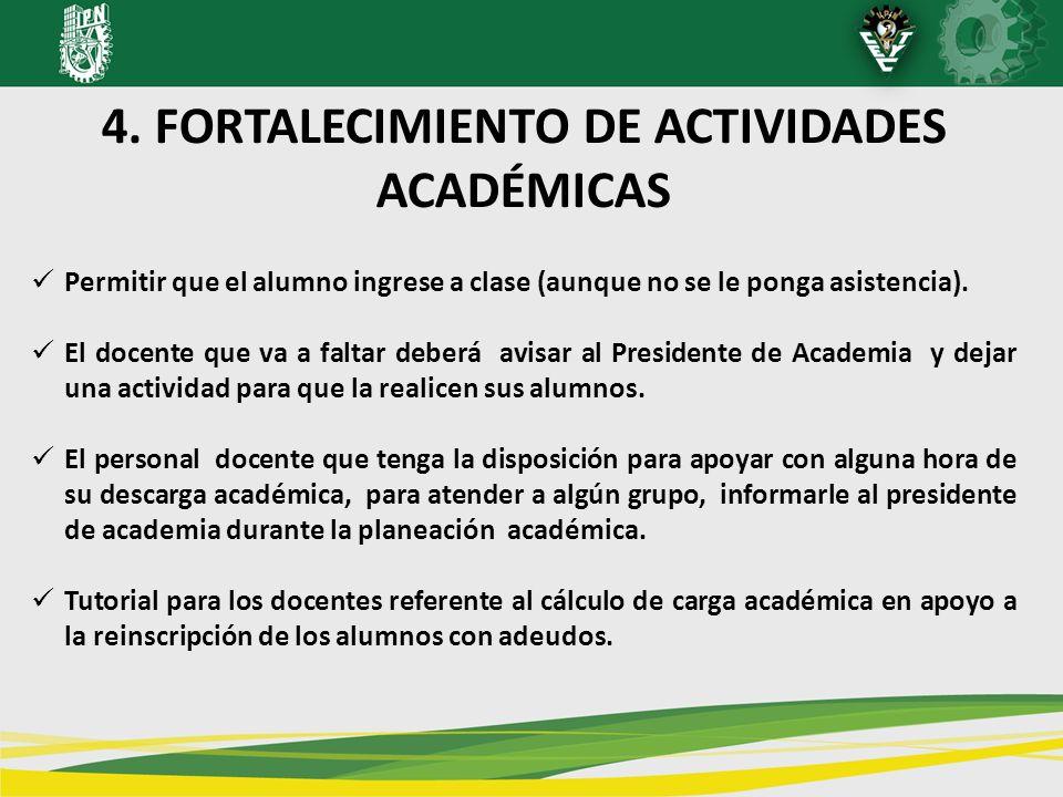4. FORTALECIMIENTO DE ACTIVIDADES ACADÉMICAS