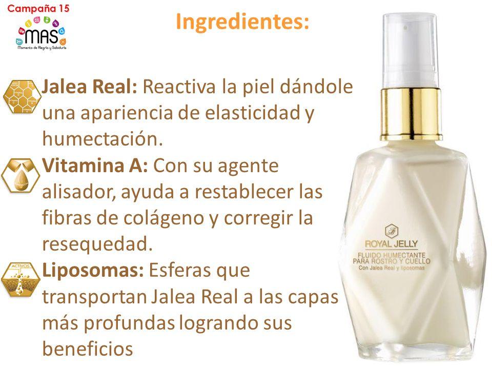 Ingredientes: Jalea Real: Reactiva la piel dándole