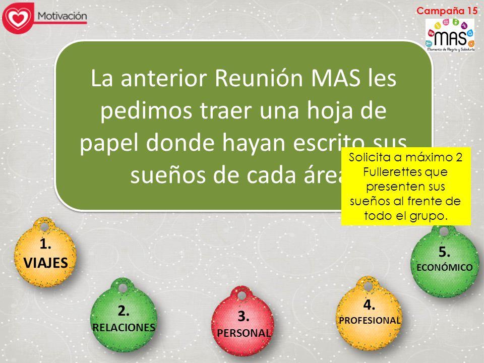 Campaña 15 La anterior Reunión MAS les pedimos traer una hoja de papel donde hayan escrito sus sueños de cada área.