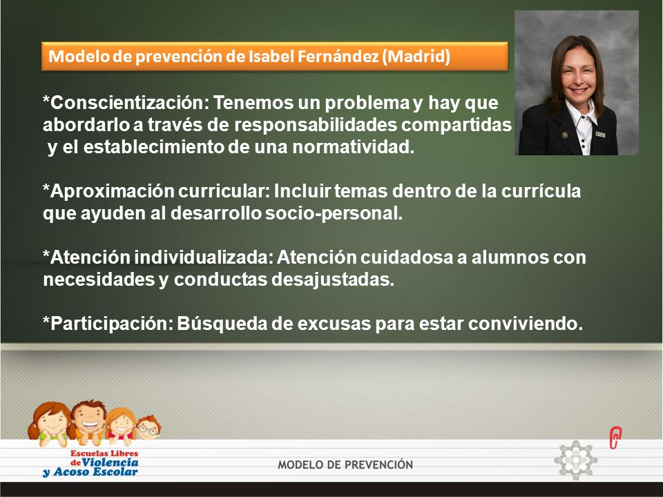 Modelo de prevención de Isabel Fernández (Madrid)