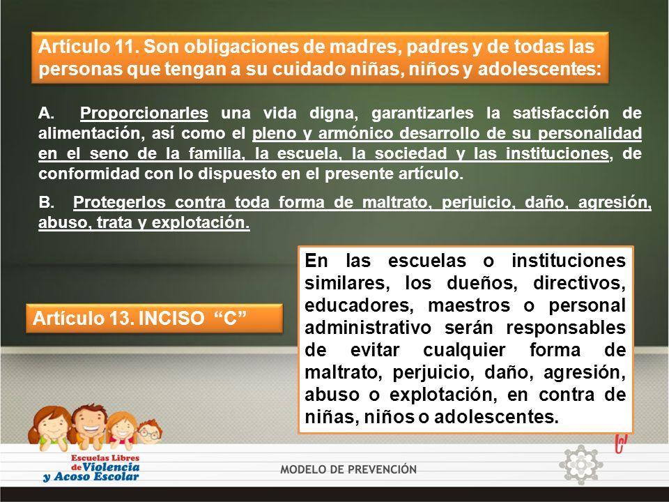 Artículo 11. Son obligaciones de madres, padres y de todas las personas que tengan a su cuidado niñas, niños y adolescentes: