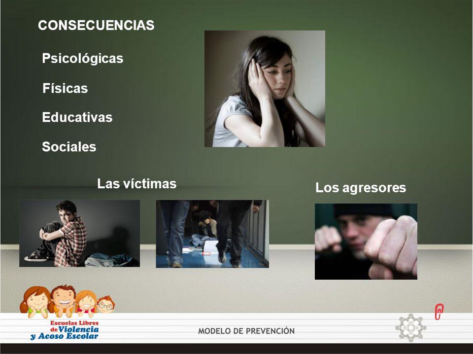 CONSECUENCIAS Psicológicas Físicas Educativas Sociales Las víctimas Los agresores