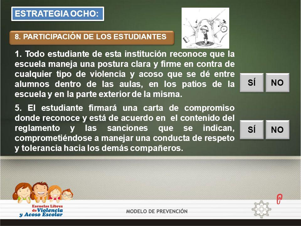 ESTRATEGIA OCHO: 8. PARTICIPACIÓN DE LOS ESTUDIANTES.