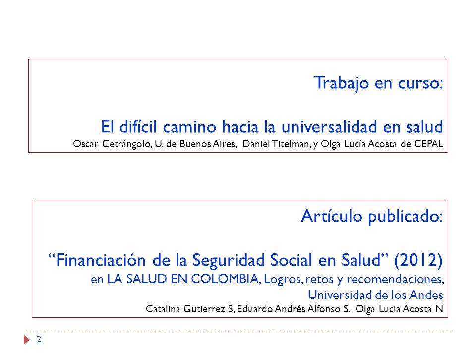 Financiación de la Seguridad Social en Salud (2012)