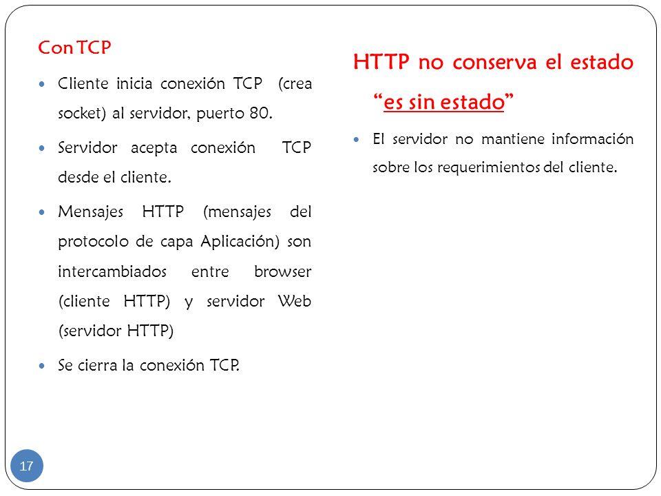 HTTP no conserva el estado es sin estado