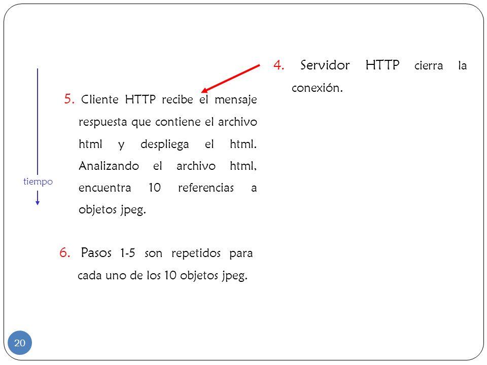 4. Servidor HTTP cierra la conexión.