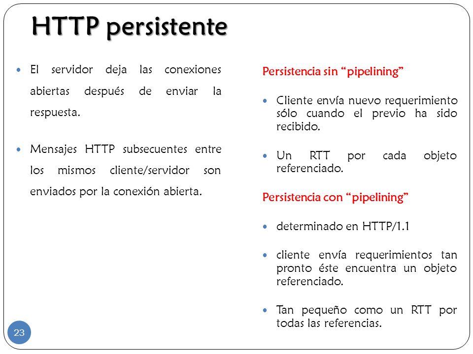 HTTP persistente El servidor deja las conexiones abiertas después de enviar la respuesta.
