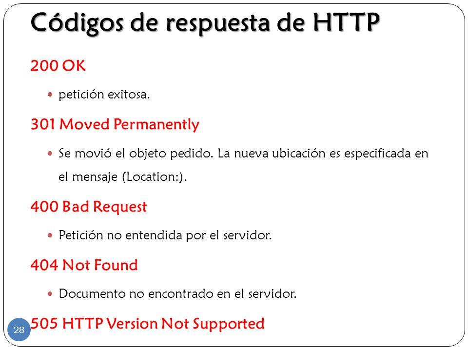 Códigos de respuesta de HTTP