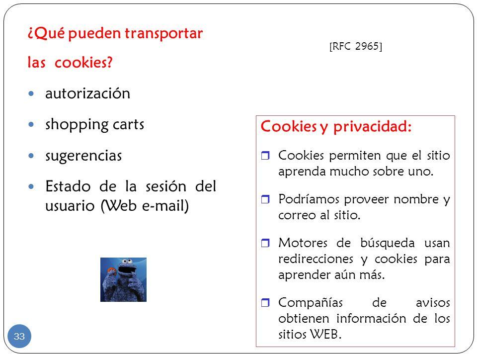 ¿Qué pueden transportar las cookies autorización shopping carts