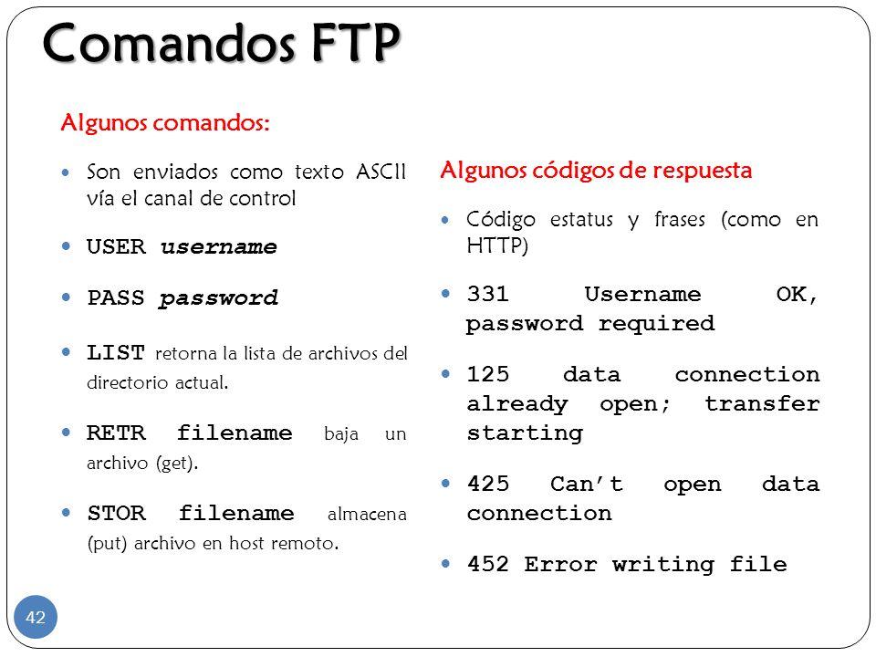 Comandos FTP Algunos comandos: Algunos códigos de respuesta