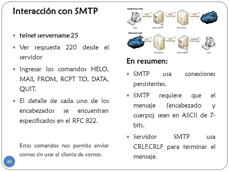 Interacción con SMTP En resumen: telnet servername 25