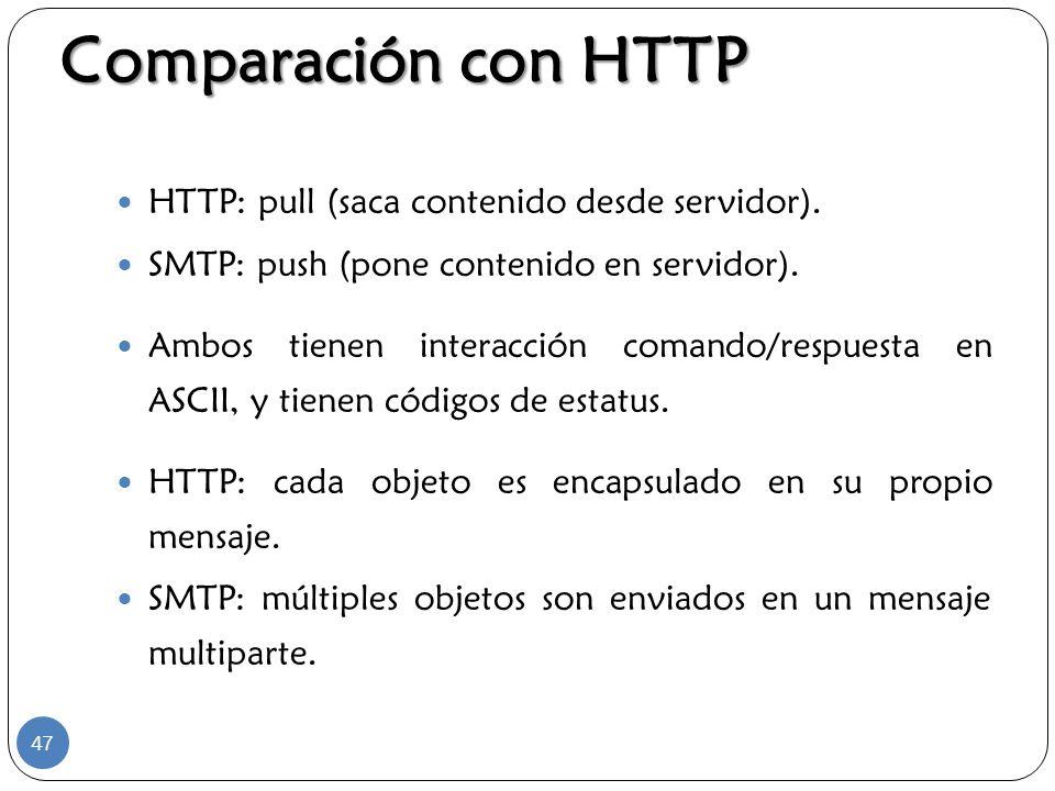Comparación con HTTP HTTP: pull (saca contenido desde servidor).