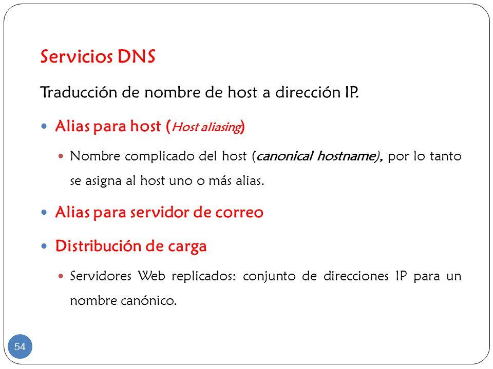 Servicios DNS Traducción de nombre de host a dirección IP.