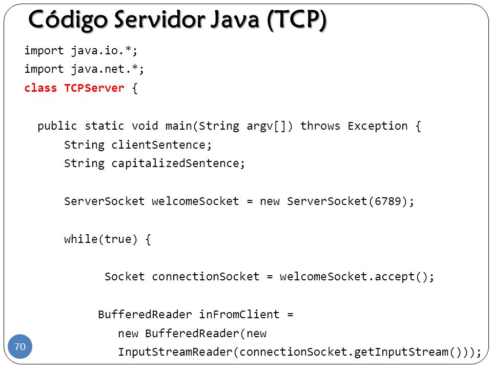 Código Servidor Java (TCP)