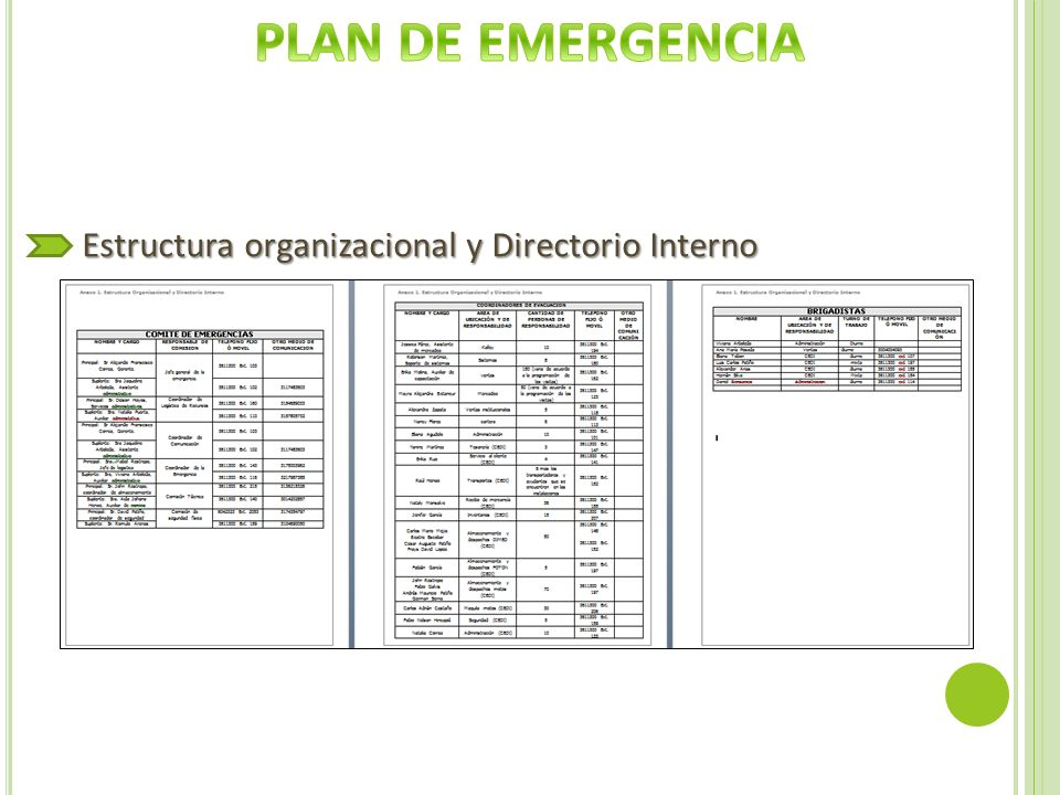 PLAN DE EMERGENCIA Estructura organizacional y Directorio Interno
